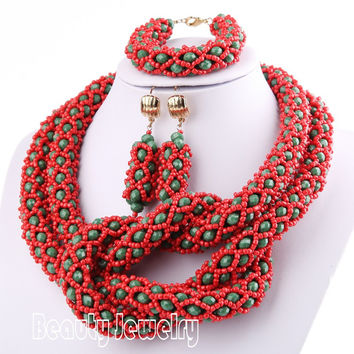 shaped handmade Seed Crystal African necklace beads