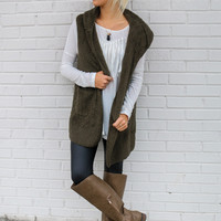 Fuzzy Feelings Olive Faux Fur Hooded Vest With Pockets