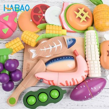 Wooden magnetic Kitchen Seafood Meats Vegetables Fruits Cutting Kids Children's Educational Toys Gifts Pretend Play  Toys