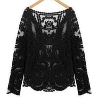 crotchet lace long sleeve top