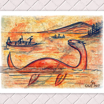 Sea Monster Cave Painting Art Print 11x8.5 - Wall Art, Home Decor, Loch Ness Monster, Nessie, Ogopogo, Poster