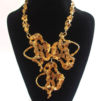 Brutalist ERWIN PEARL Gold Bib Necklace, Haute Couture, Huge Vintage