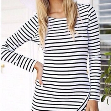Creative Hot Sale Stylish Stripes Prom Dress One Piece Dress [4918717124]