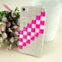 ZLYC Pink and White Cubes with Rhinestone Enamel Case for iPhone 4/4S