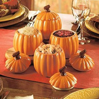Set of 4 Pumpkin Side Dishes Decorates Your Harvest Table. Perfect for Thanksgiving Serving.