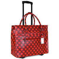 """THE POLKA DOT"" Rolling iPad, Tablet or Laptop Rolling Briefcase Tote Bag"