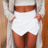 White Pink Black Winter Summer Dropped Saias Jupe Skirts Ladies Womens Skorts Shorts Bright Mini Asymmetrical 6 Colors