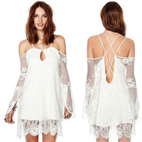 White Off-Shoulder Strappy Lace Dress
