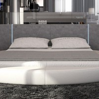 Modrest Rotondo - Modern Round Eco-Leather Bed with LED Lights