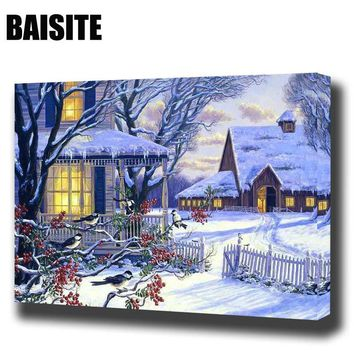 BAISITE DIY Framed Oil Painting By Numbers winter eve Landscape E855