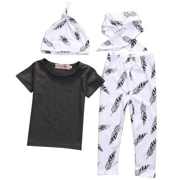Kid Boys girls clothes Casual Clothing Sets Children's Suit Toddler Baby Kids T-shirt+Feather Pants+Hat+Bibs Outfits Clothes