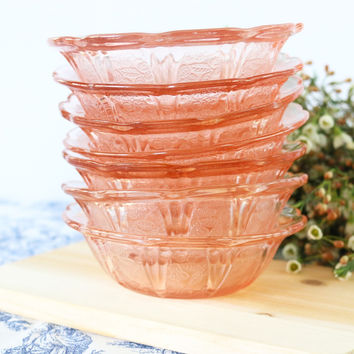 Pink Scalloped Glass Dessert Bowls