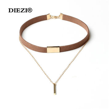 Punk 2016 Hot Fashion Multilayer Brown Black Tassel Chain Velvet Necklace Leather Collar Choker Necklaces for Women Jewelry
