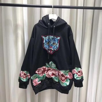 Gucci Fashion Tiger headEmbroidered Sweatshirt Pullover Hoodie