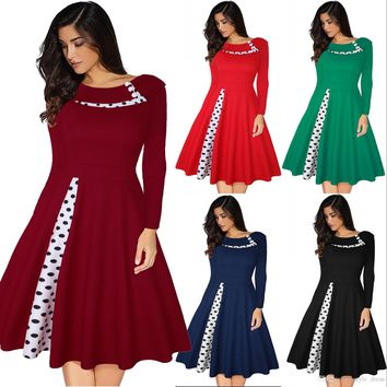Women Polka Dot Patchwork Dress Long Sleeve Vintage Rockabilly A Line Formal Party Dress