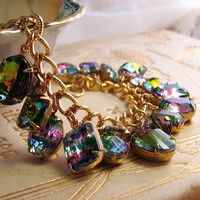 Rainbow bracelet with vintage Iris and Vitrail by shadowjewels