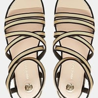 River Island Gold Trim Flat Gladiator Sandals at asos.com