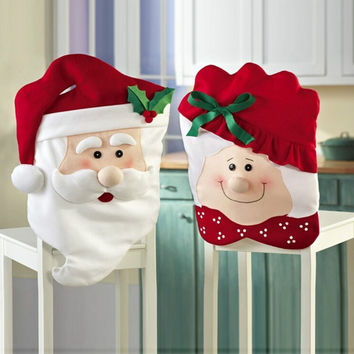 1Pair Lovely Mr & Mrs Santa Claus Hat Christmas Dining Room Chair Cover Home Party Decor Christmas  Holiday Decoration Supplies