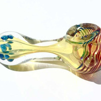 Red and Blue Spotted Striped Glass Spoon Pipe