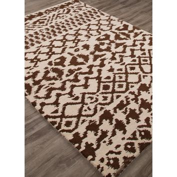 Geometric Ikat Brown Rug