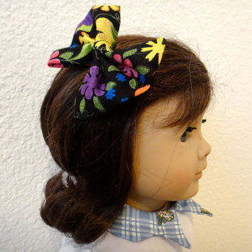 American Girl Doll Hair Bow Accessories Black Floral