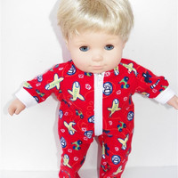 """American Girl Bitty Baby Clothes 15"""" Doll Clothes Boy Red Airplane Flannel Zip Up Feetie Pajamas Pjs Sleeper"""