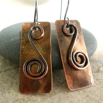 Copper Earrings, Mixed Metal, Sterling Silver, Rustic Earrings