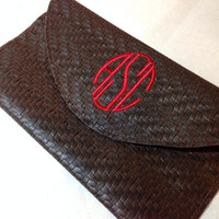 Valentine's Day Gift, Monogrammed Leather Clutch