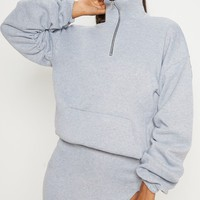 Grey Zip Oversized Ruched Sleeve Sweater