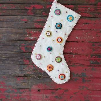 Felt Stocking - Ivory With Button Flowers