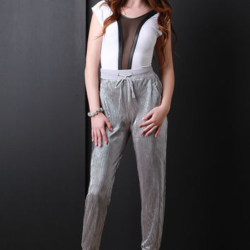Metallic Accordion Jogger Pants
