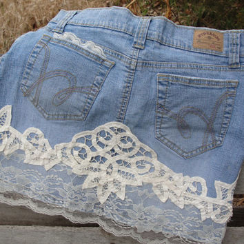 Bohemian jean skirt lace and flowers embellished shabby chic