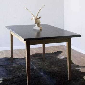 Custom Hand Welded Steel & Walnut Mid Century Modern Dining Table