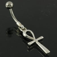 Ancient Egyptian ankh Cross Belly Ring, 316L Surgical Steel & 925 Silver, fbn324