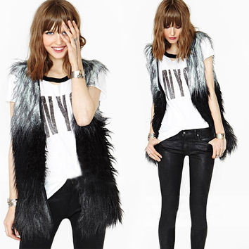 NewWomen Faux Fur Sleeveless Shaggy Vest Coat Long Hair Jacket Waistcoat Outerwear SM6