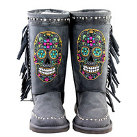 Mardi Gras Rhinestone Sugar Skull Collection Shearling Gray Tall Boots