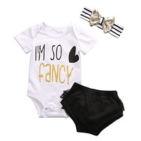 Baby Girl Kids Clothes Newborn Short Sleeve Cotton Romper headband Short Outfit Sets