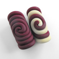 Set of 2 Dread Beads 10mm  Plum Spiral and Plum with Glow In the Dark Dreadlock Accessories For Dreads