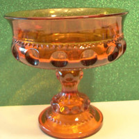 Amber Kings Crown Compote  Glass Pedestal Candy Dish Halloween Thanksgiving Entertaining