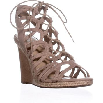 Indigo Rd. Holiday Lace-up Wedge Sandals, Light Natural, 9 US