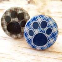 Dog Paw Print Knobs Drawer Pulls, Puppy Paws Cabinet Handles, Dresser Knob Pulls, Plaid Pet Animal Decor, Choose Your Print, Made To Order