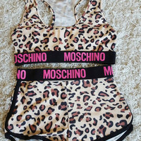 Reworked moschino animal print two piece / tankini