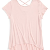 Girl's Mia Chica Cross Back High/Low Tee,