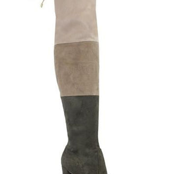Colorblock Thigh High Boots - Olive (Ships On/Before Friday October 7th)