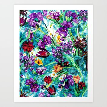 Floral Jungle Art Print by RIZA PEKER