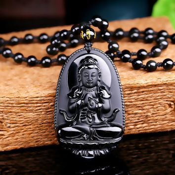 Buddha  Lucky Amulet Pendant Necklace  Black