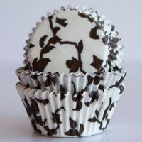 Chocolate Brown Ivy Cupcake Liners