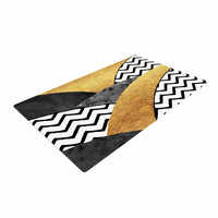"Zara Martina Mansen ""Chevron Hills"" Gold Black White Woven Area Rug"