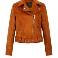 Tan Suedette Biker Jacket | New Look