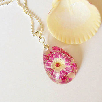 Flower necklace glass pendant teardrop necklace pink flowers gift for her birthday gift pendant necklace floral jewelry glass necklace